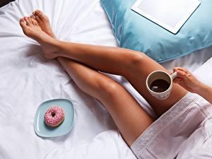 Photo Donuts Coffee Legs Girls
