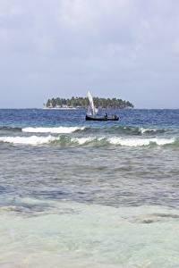 Fotos Meer Wasserwelle Boot Insel Panama, San Blas Islands Natur