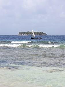 Fotos Meer Wasserwelle Boot Insel Panama, San Blas Islands