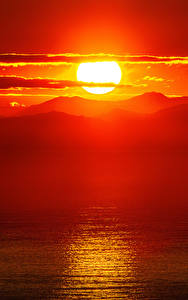 壁纸、、朝焼けと日没、山、風景写真、太陽、自然