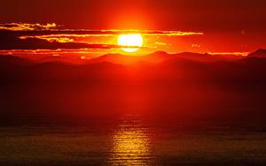 Fotos Sonnenaufgänge und Sonnenuntergänge Gebirge Landschaftsfotografie Sonne