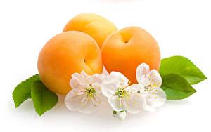 Hintergrundbilder Aprikose Weißer hintergrund Drei 3 Lebensmittel