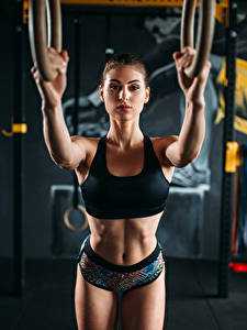 Bilder Fitness Braune Haare Bauch Mädchens Sport