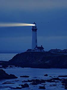 Bilder USA Küste Leuchtturm Kalifornien Nacht Natur