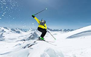 Fotos Winter Skisport Schnee Sprung sportliches