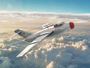 Bilder Flugzeuge Jagdflugzeug War Thunder Russische Wolke La-15 Spiele