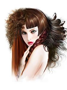 Hintergrundbilder Gezeichnet Weißer hintergrund Braunhaarige Haar Zopf Frisuren junge frau