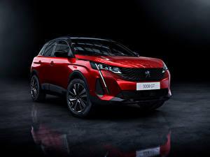 Hintergrundbilder Peugeot Softroader Rot Metallisch 3008 GT, 2020 Autos