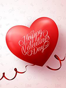 Papéis de parede Dia dos Namorados Cor de fundo Inglês Coração Vermelho Fita