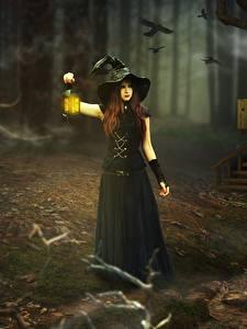 Bilder Hexe Laterne Nacht Der Hut Kleine Mädchen Fantasy Mädchens