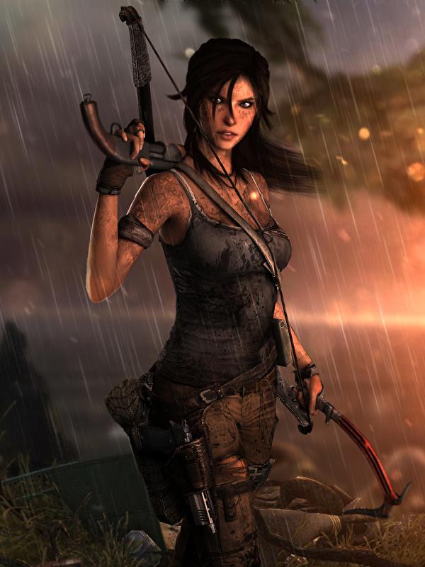 Desktop Wallpapers Tomb Raider 2013 Lara Croft Female Rain
