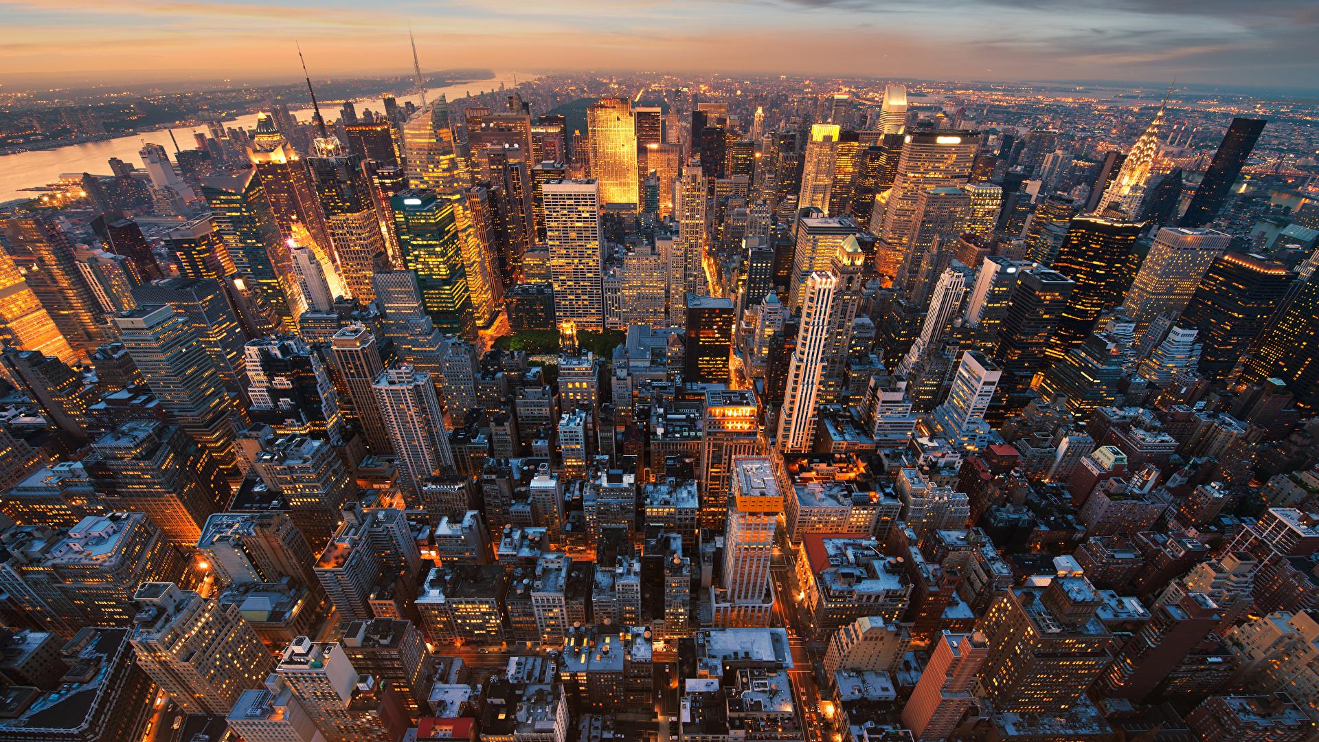 Foto Manhattan New York City Usa Megalopolis Abend Von 1920x1080