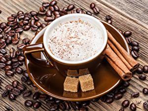 Bilder Kaffee Zimt Cappuccino Bretter Getreide Zucker Tasse