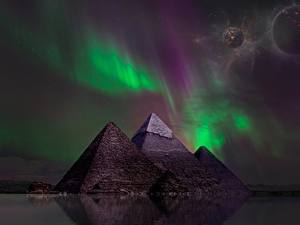 Image Planets Pyramid Night time Aurora Fantasy