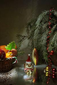 Hintergrundbilder Neujahr Mandarine Süßware Dauerlutscher Ast Kugeln