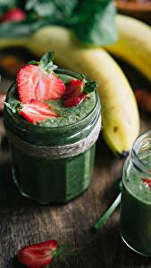 Hintergrundbilder Getränke Bananen Erdbeeren Weckglas Lebensmittel