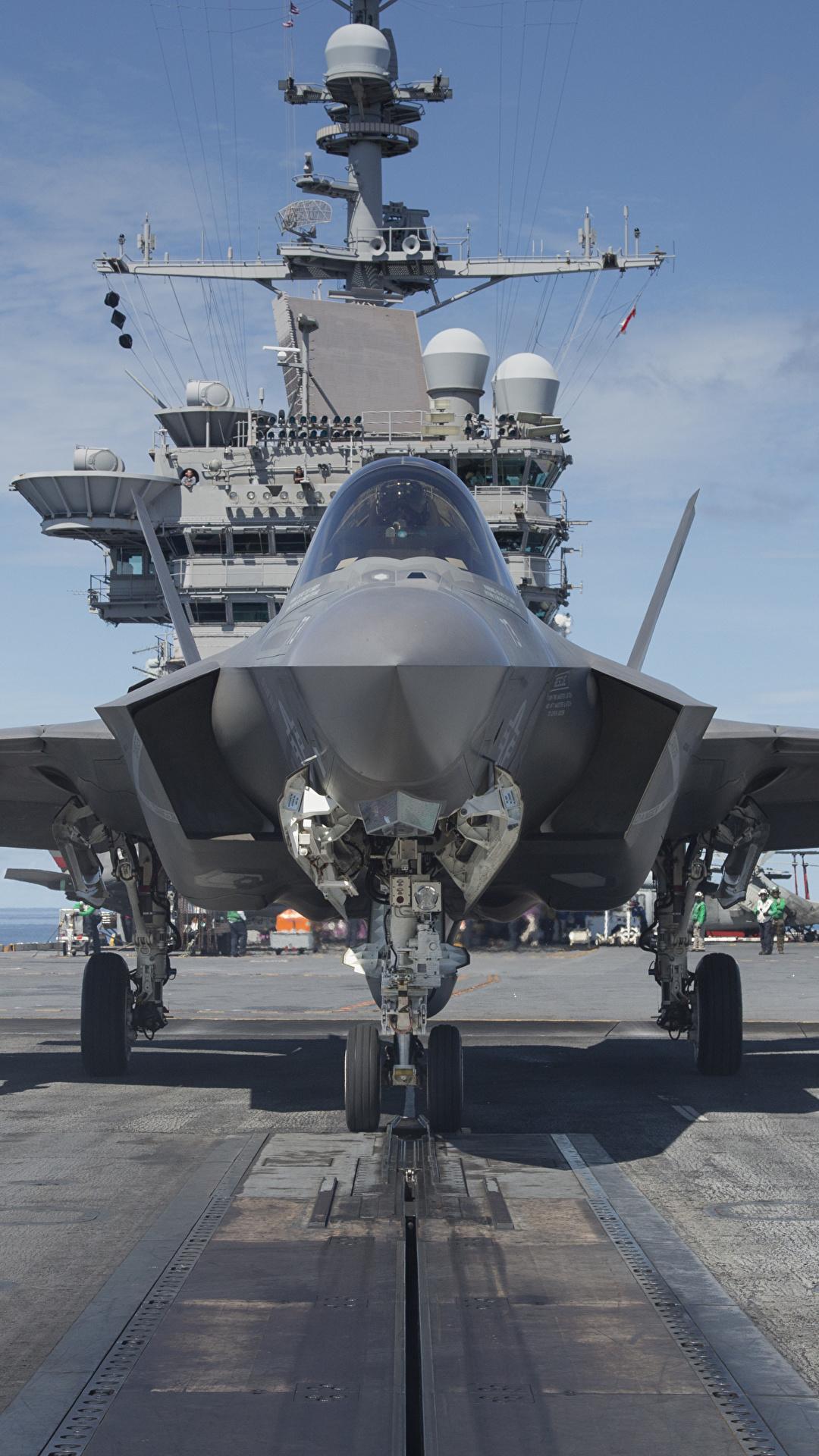 壁紙 1080x1920 飛行機 戦闘機 空母 F 35 Lightning Ii 正面図