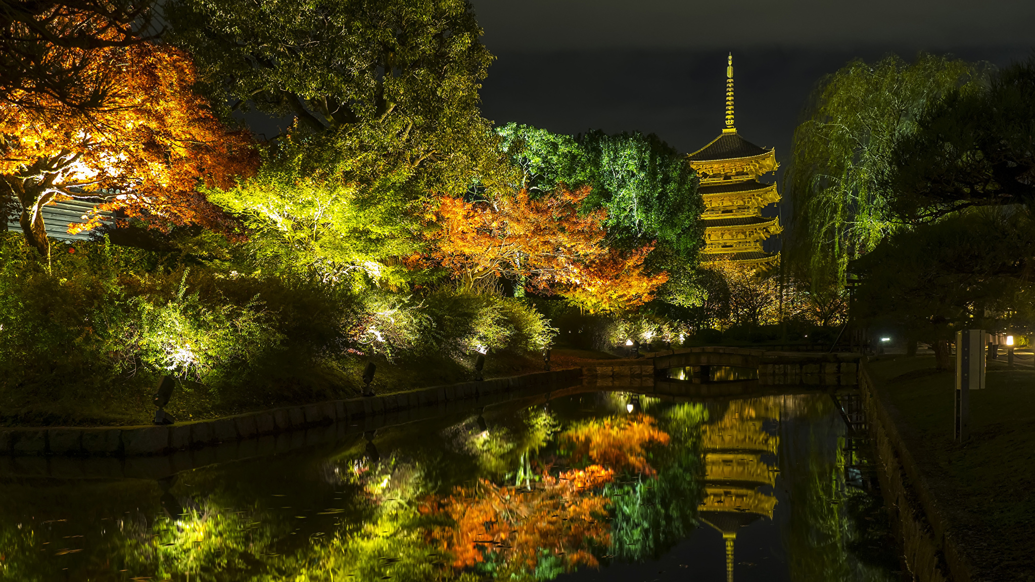 2048x1152、日本、京都市、秋、公園、池、木、夜、街灯、自然