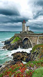 Hintergrundbilder Frankreich Küste Leuchtturm Himmel Phare du Petit Minou