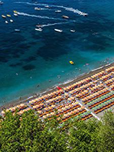 Fotos Positano Italien Küste Strände Von oben Natur
