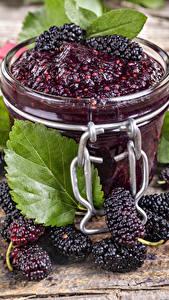 Bilder Powidl Brombeeren Einweckglas Lebensmittel