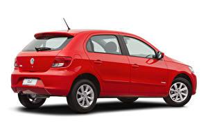 Fotos Volkswagen Rot Metallisch Weißer hintergrund  auto
