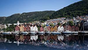 Images Houses Coast Norway Bergen Bryggen Cities