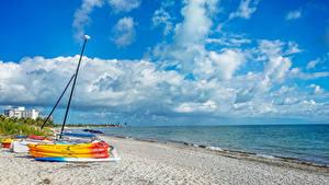 Bilder USA Küste Himmel Schiffe Boot Florida Wolke Strände Natur
