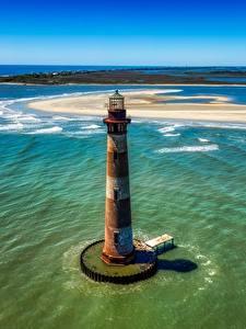 Fotos USA Insel Ozean Von oben Horizont Alte Morris island, South Carolina Natur