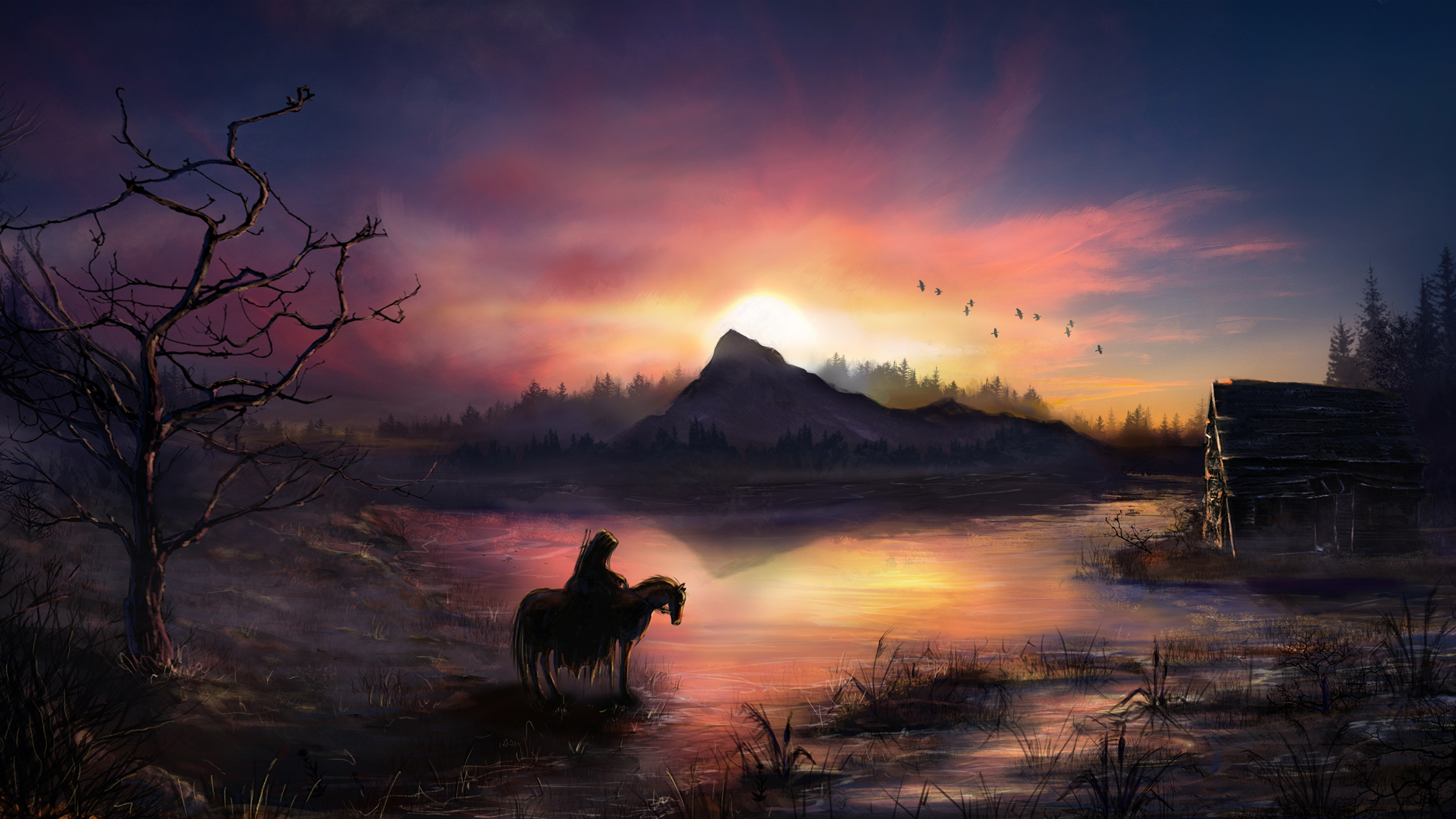 Wallpaper Horses Warriors Fantasy Sunrises and sunsets 3840x2160