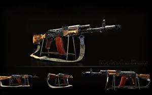 Bilder Sturmgewehr Russische Schwarzer Hintergrund AK 74 AK-74N, Kalashnikov Heer