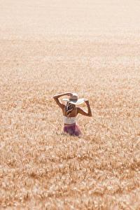 Desktop hintergrundbilder Felder Weizen Der Hut Blond Mädchen junge Frauen