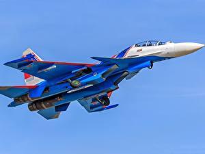 Fotos Flugzeuge Jagdflugzeug Soukhoï Su-30 Flug Russische Su-30SM Luftfahrt