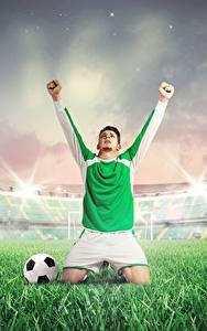 Bilder Fußball Mann Hand Uniform Gras Ball Stadion sportliches