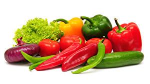 Hintergrundbilder Gemüse Zwiebel Paprika Gurke Tomaten Weißer hintergrund