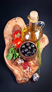Hintergrundbilder Oliven Tomate Beere Grauer Hintergrund Kanne Ei Öle