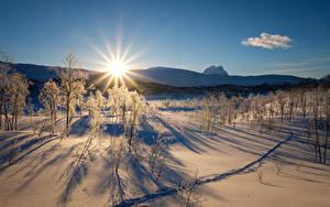 Hintergrundbilder Landschaftsfotografie Sonnenaufgänge und Sonnenuntergänge Winter Schnee Sonne Bäume