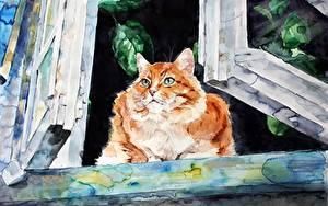 Bilder Katze Gezeichnet Fenster Elenashved watercolor Tiere