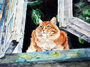 Image Cats Painting Art Window Elenashved watercolor Animals