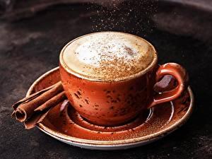 Bilder Kaffee Cappuccino Zimt Tasse Untertasse