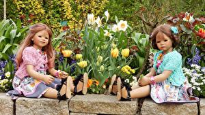 Bilder Park Tulpen Narzissen Puppe Kleine Mädchen 2 Sitzen Grugapark Essen Natur