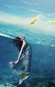 Bilder Meerjungfrau Unterwasserwelt Kleid Fantasy Mädchens