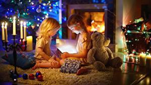 Hintergrundbilder Teddybär Zwei Kleine Mädchen kind
