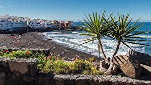 Hintergrundbilder Spanien Resort Steine Haus Strände Tenerife, Puerto de La Cruz Städte