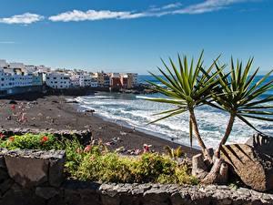 Hintergrundbilder Spanien Resort Steine Haus Strände Tenerife, Puerto de La Cruz