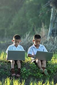 Bilder Asiatische Junge Gras 2 Sitzend Notebook Kinder