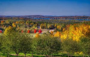 Hintergrundbilder Vereinigte Staaten Landschaftsfotografie Herbst Michigan Bäume Leelanau
