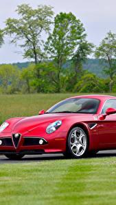Bilder Alfa Romeo Rot Metallisch 20008 8C Competizione Autos