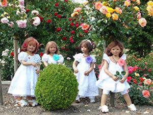 Fotos Park Rosen Puppe Kleine Mädchen Kleid Strauch Grugapark Essen Natur