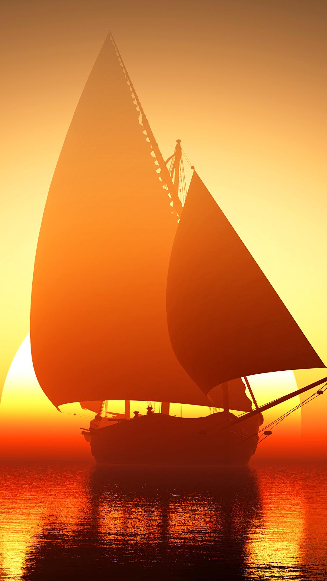 Fotos Meer Sonne Schiffe spiegelt Sonnenaufgänge und Sonnenuntergänge Segeln 1080x1920 Reflexion Spiegelung Spiegelbild